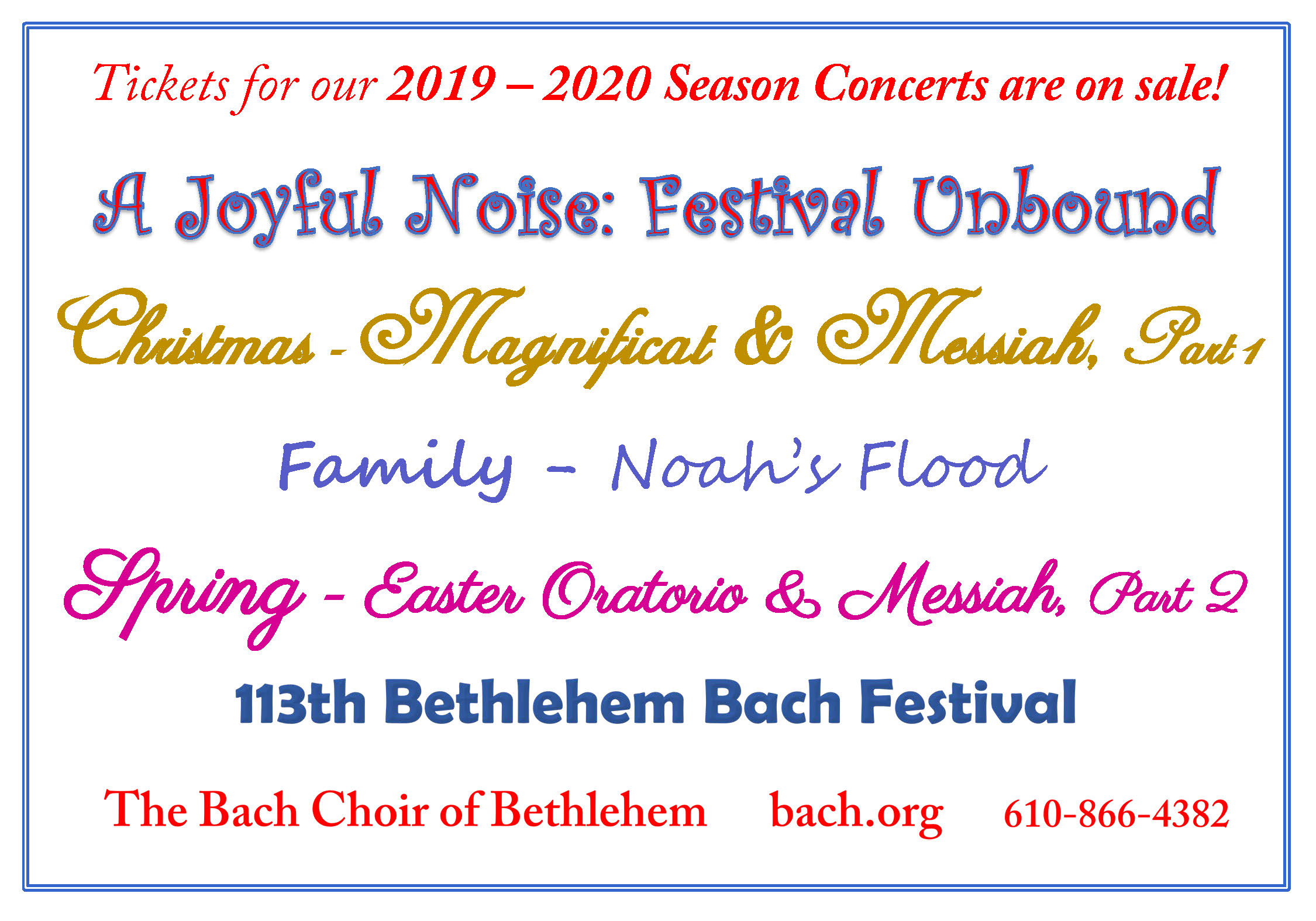 Allentown Fall Festival 2020 2017 2018 Season & 111th Bethlehem Bach Festival   The Bach Choir